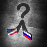 Russia American news question Stock Image