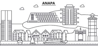 Russia, Anapa architecture line skyline illustration. Linear vector cityscape with famous landmarks, city sights, design. Icons. Editable strokes Stock Image