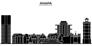 Russia, Anapa architecture urban skyline with landmarks, cityscape, buildings, houses, ,vector city landscape, editable. Russia, Anapa architecture skyline with Stock Photography