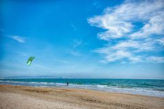 Russia Anapa 12.07.2018. Skydiver on the beach on a Sunny day stock images
