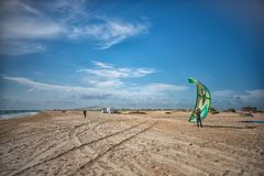 Russia Anapa 12.07.2018. Skydiver on the beach on a Sunny day royalty free stock photos