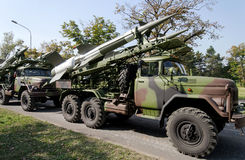 Russia antiaircraft missiles. Vechiles in line up Royalty Free Stock Image