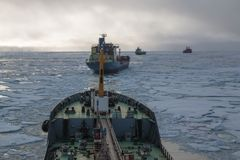 Nuclear icebreaker  in the ice Stock Photo