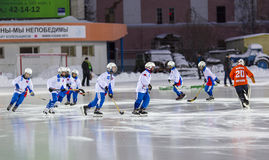 RUSSIA, ARKHANGELSK - DECEMBER 14, 2014: 1-st stage children's hockey League bandy, Russia Stock Photography