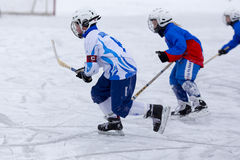 RUSSIA, ARKHANGELSK - DECEMBER 14, 2014: 1-st stage children's hockey League bandy, Russia Stock Photo