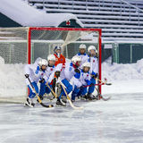 RUSSIA, ARKHANGELSK - DECEMBER 14, 2014: 1-st stage children's hockey League bandy, Russia Royalty Free Stock Image