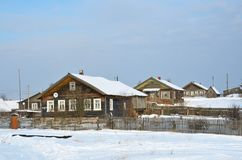 Russia, Arkhangelsk oblast, Onezhsky district, village Vorzogory in the winter royalty free stock photography