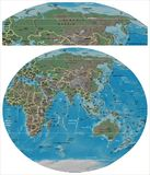 Russia and Asia Oceania map. Russia close up from Asia Oceania map Royalty Free Stock Image