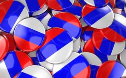 Russia Badges Background - Pile of Russian Flag Buttons. Stock Photos