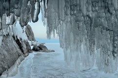 Russia, Baikal lake. Maloe Sea. Ice cape on Olkhon island in the evening. Russia, Baikal lake. Ice cape on Olkhon island in the evening Stock Image
