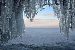 Russia, Baikal lake. Maloe Sea. Ice cape on Olkhon island in the evening. Russia, Baikal lake. Ice cape on Olkhon island in the evening Royalty Free Stock Photography