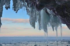 Russia, Baikal lake. Maloe Sea. Ice cape on Olkhon island in the evening. Russia, Baikal lake. Ice cape on Olkhon island in the evening Stock Images