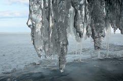 Russia, Baikal lake. Maloe Sea. Ice cape on Olkhon island in the evening. Russia. Baikal lake. Maloe Sea. Ice cape on Olkhon island in the evening Stock Photo