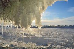 Russia, Baikal lake. Maloe Sea. Ice cape on Olkhon island near Uzury in the morning. Russia. Baikal lake. Maloe Sea. Ice cape on Olkhon island near Uzury in the Royalty Free Stock Photos