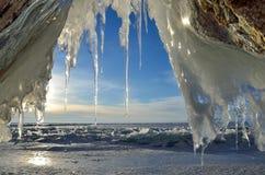 Russia, Baikal lake. Maloe Sea. Ice cape on Olkhon island near Uzury in the morning. Russia. Baikal lake. Maloe Sea. Ice cape on Olkhon island near Uzury in the Stock Photos