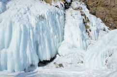 Russia, Baikal lake. Maloe Sea. Ice icicles  on Olkhon island. Russia, Baikal lake. Icicles  on Olkhon island Royalty Free Stock Images