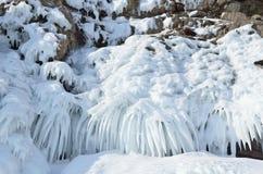 Russia, Baikal lake. Maloe Sea. Ice icicles  on Olkhon island. Russia, Baikal lake. Icicles  on Olkhon island Royalty Free Stock Image