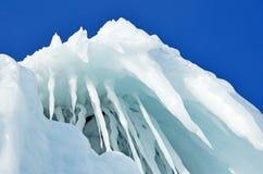 Russia, Baikal lake. Maloe Sea. Ice icicles  on Olkhon island. Russia, Baikal lake. Icicles  on Olkhon island Royalty Free Stock Photo