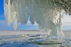 Russia, Baikal lake. Maloe Sea. Ice icicles  on Olkhon island near Uzury village. Russia, Baikal lake. Ice icicles  on Olkhon island near Uzury village Stock Photos