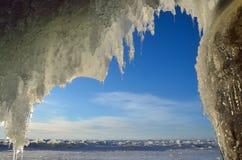 Russia, Baikal lake. Maloe Sea. Ice icicles  on Olkhon island near Uzury village. Russia, Baikal lake. Ice icicles  on Olkhon island near Uzury village Royalty Free Stock Photos