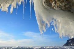 Russia, Baikal lake. Maloe Sea. Ice icicles  on Olkhon island near Uzury village. Russia, Baikal lake. Ice icicles  on Olkhon island near Uzury village Royalty Free Stock Photography