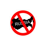 Russia banned. Stop Russian aggressors. Red forbidding sign for Royalty Free Stock Image