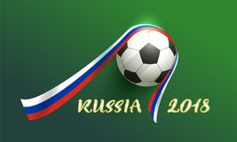 Russia 2018 banner text. Soccer ball and ribbon russian flag. Vector illustration on green background Royalty Free Stock Images