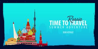 Russia banner. Time to Travel. Journey, trip and vacation. Vector flat illustration. Russia banner. Time to Travel. Journey, trip and vacation. Vector flat Stock Photo