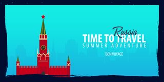 Russia banner. Time to Travel. Journey, trip and vacation. Vector flat illustration. Russia banner. Time to Travel. Journey, trip and vacation. Vector flat Royalty Free Stock Photo