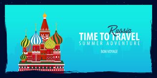 Russia banner. Time to Travel. Journey, trip and vacation. Vector flat illustration. Russia banner. Time to Travel. Journey, trip and vacation. Vector flat Stock Image
