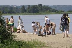 Russia Berezniki July 21, 2017 : people go to the beach to sunbathe stock photo