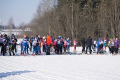 Russia Berezniki March 11, 2018 : a group of skiers-athletes at the start during the world Cup ski racing . royalty free stock photo