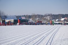 Russia Berezniki 11 March 2018: men`s and women`s 10 km sprint at the winter Olympics . Russia Berezniki 11 March 2018: men`s and women`s 10 km sprint at the Royalty Free Stock Images