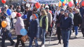 Russia Berezniki may 1, 2018-carnival Parade a huge number of people are going to celebrate.  stock footage
