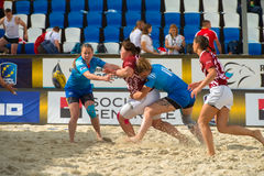 Russia blue vs Latvia. MOSCOW, RUSSIA - JULY 22-23, 2017: Rugby players in action at the  on European Beach Fives Rugby Championship 2017 in the match Russia Royalty Free Stock Image