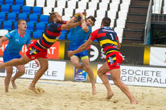 Russia blue vs Spain. MOSCOW, RUSSIA - JULY 22-23, 2017: Rugby players in action at the  on European Beach Fives Rugby Championship 2017 in the match Russia blue Royalty Free Stock Photo