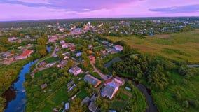 Russia, Borisoglebsk , Yaroslavl region, kremlin (Aerial Drone flights) stock video