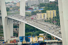 Russia, the bridge across the Golden horn bay in Vladivostok Stock Photography
