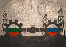 Russia and Bulgaria flags on gears Royalty Free Stock Images