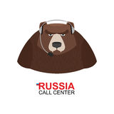 Russia call center. Bear responds to phone calls. Wild animal an Royalty Free Stock Photography