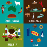 Russia, Canada, USA and Australia travel icons Royalty Free Stock Image