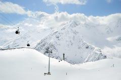 Russia Caucasus. Elbrus ski resort. Winter scenery. Russia. Caucasus. Kabardino-Balkaria. Elbrus ski resort. Winter mountain scenery. Elbrus Mount. Cable-way stock images
