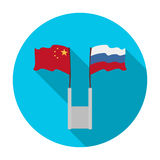 Russia and China flags icon in flat style  on white background. Interpreter and translator symbol stock vector Royalty Free Stock Images