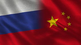 Russia and China - Two Flag Together - Fabric Texture. Realistic Flags vector illustration