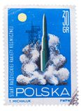RUSSIA - CIRCA JANUARY, 2016: a post stamp printed in POLAND sho Royalty Free Stock Image