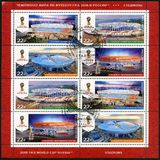 RUSSIA - CIRCA 2017: shows stadiums in Kaliningrad, Nizhny Novgorod, St Petersburg and Saransk, series Stadiums. RUSSIA - CIRCA 2017: A stamp printed in Russia royalty free stock photos