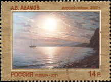 RUSSIA - CIRCA 2011: Stamp printed in Russia dedicated the contemporary Art Russia, A. Adamov. Seascape, 2007 Royalty Free Stock Image