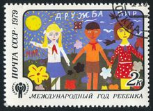 Childrens Drawings. RUSSIA - CIRCA 1979: stamp printed by Russia, shows Childrens Drawings, Friendship, circa 1979 royalty free stock photography