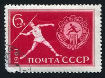 Javelin Thrower. RUSSIA - CIRCA 1961: stamp printed by Russia, shows Javelin Thrower, circa 1961 Stock Photography