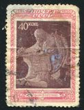 Lenin at Razliv postage stamp printed by Russia. RUSSIA - CIRCA 1950: stamp printed by Russia, shows Lenin at Razliv, circa 1950 stock images